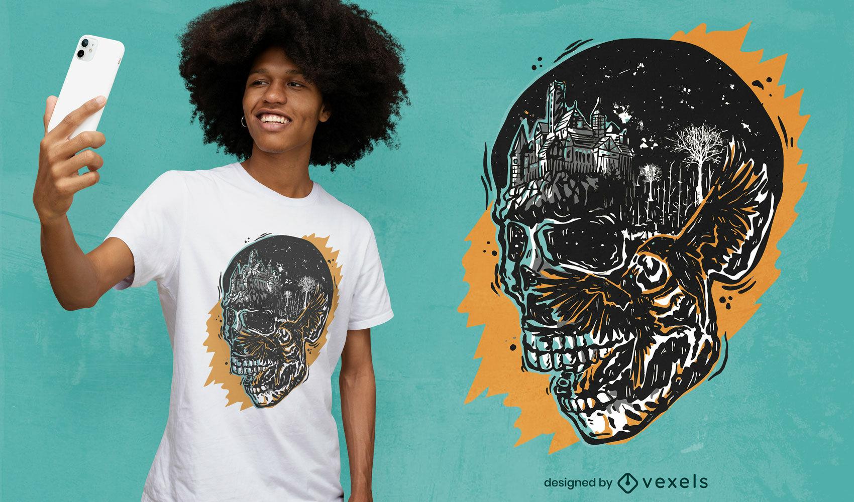 Diseño de camiseta con ilustración de cuervo en cráneo