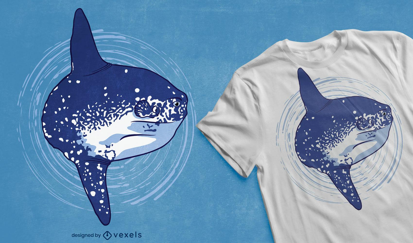 Design de t-shirt de peixe-lua e animal marinho oceano