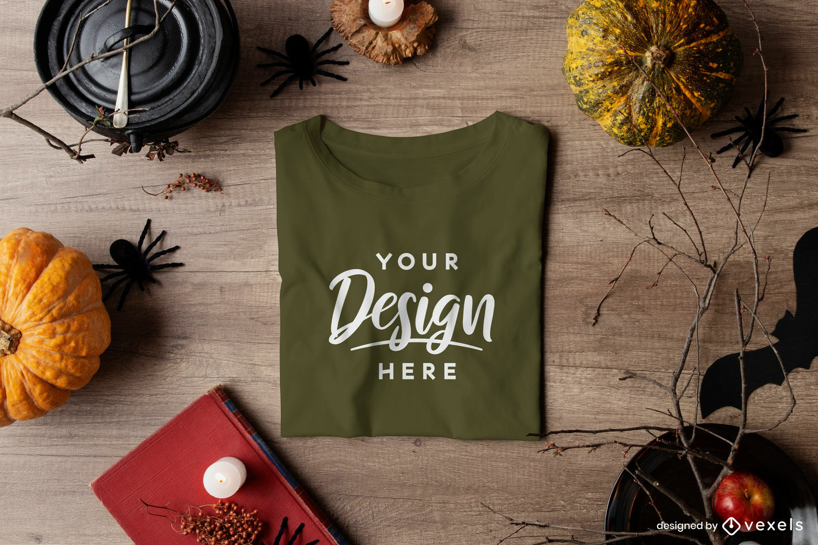 Green folded t-shirt mockup in halloween composition