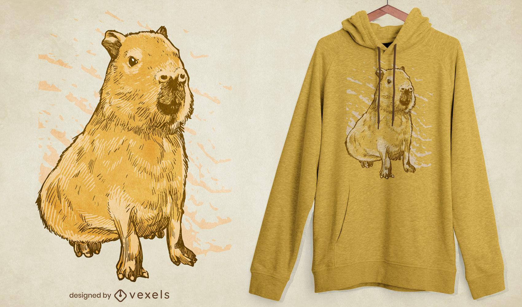 Diseño de camiseta animal de capibara realista.