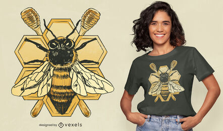 Detailed bee insect honey t-shirt design