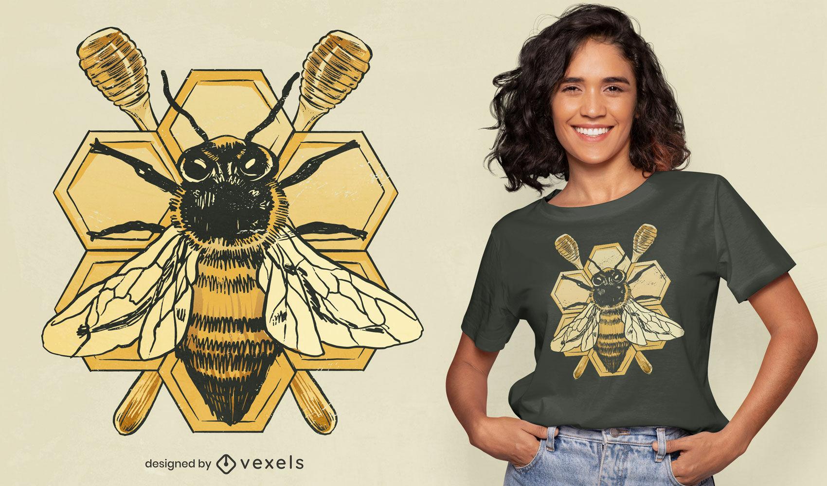 Diseño detallado de camiseta de miel de insecto de abeja.