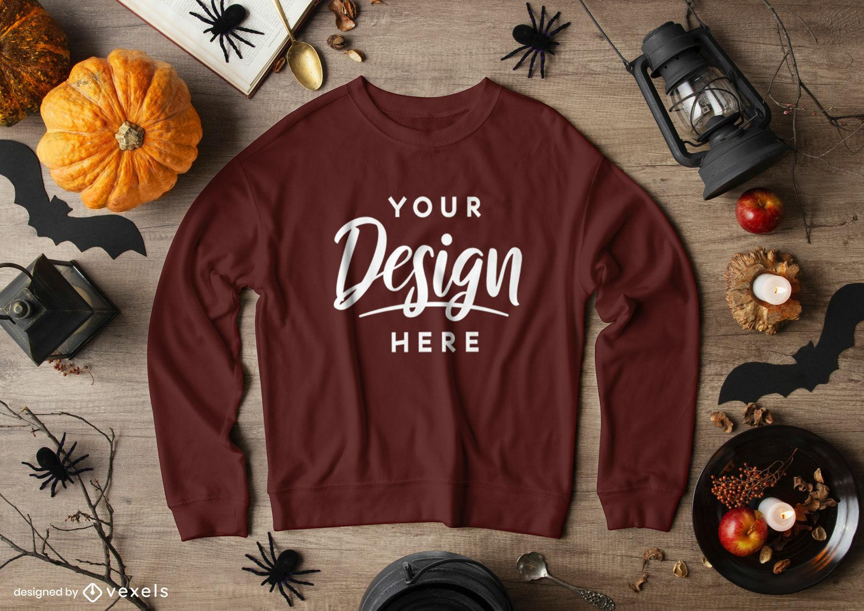 Braunes Sweatshirt-Mockup-Halloween-Zusammensetzung