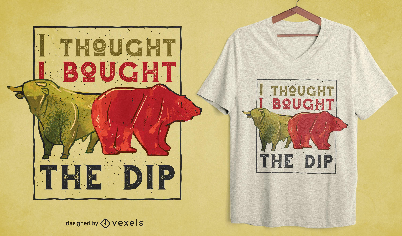 Diseño de camiseta de toro y oso bursátil.