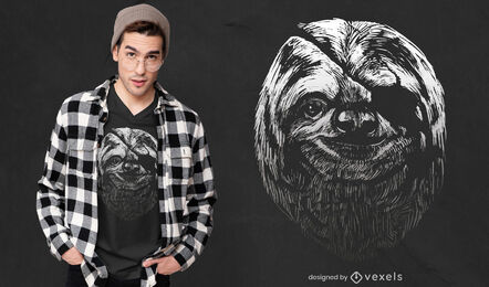 Realistic sloth with eye patch t-shirt design