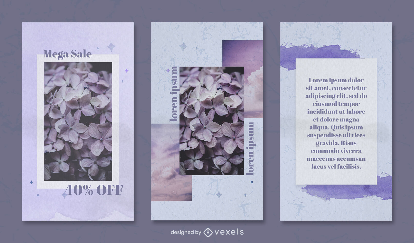 Watercolor blue and purple instagram story template