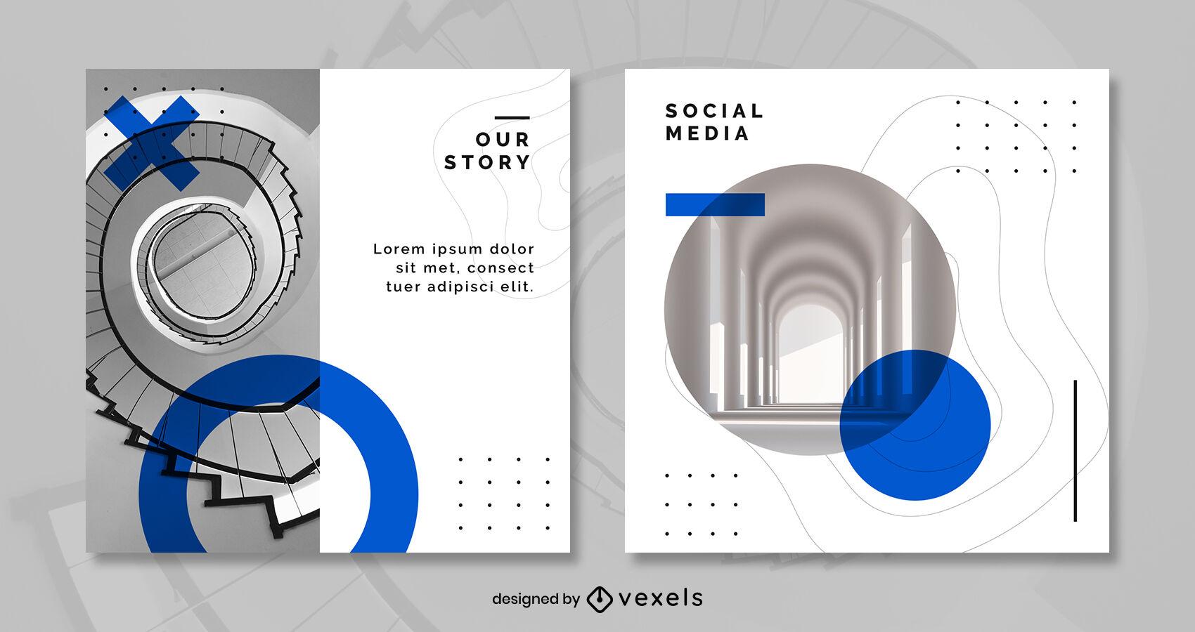 Plantilla de publicación de instagram azul de texturas de arquitectura