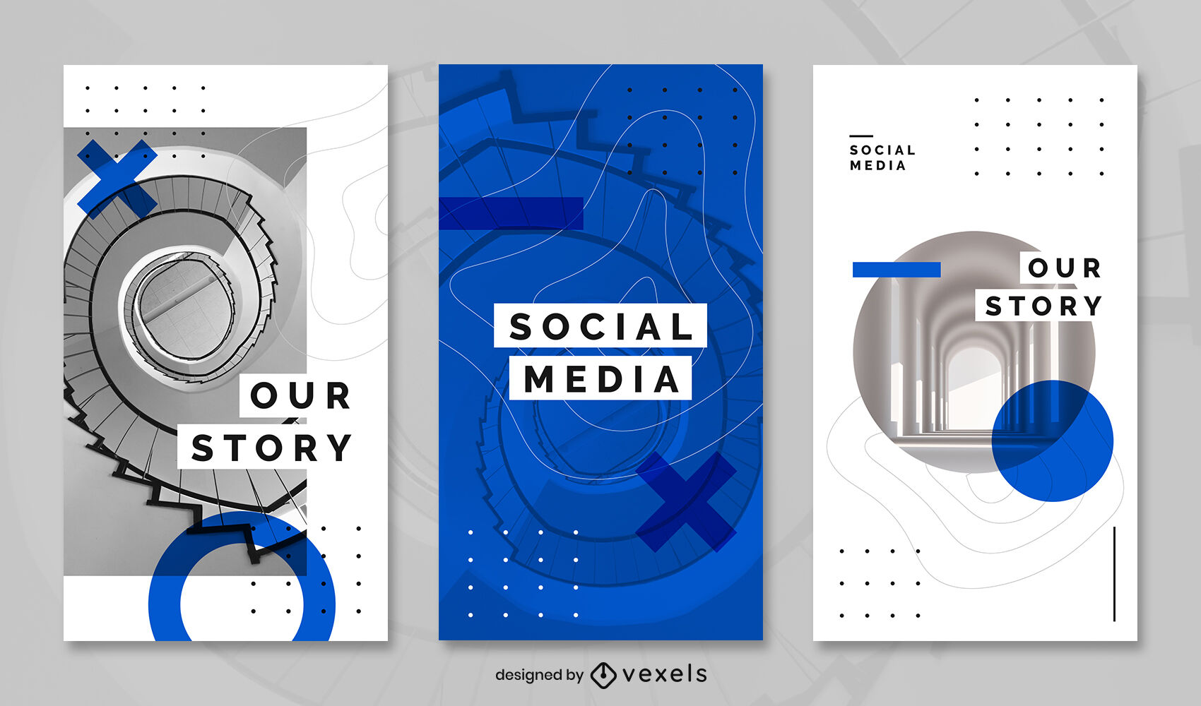 Plantilla de historia de instagram azul de texturas de arquitectura