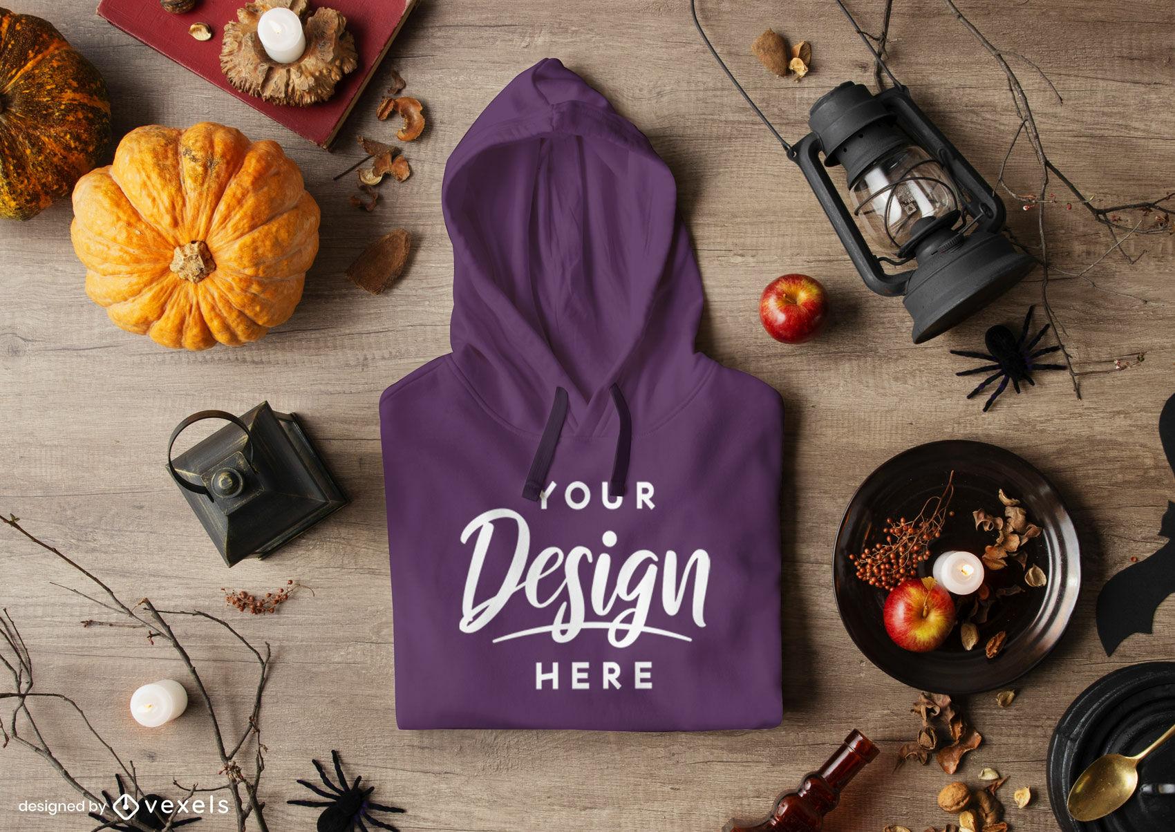 Purple hoodie in halloween composition mockup