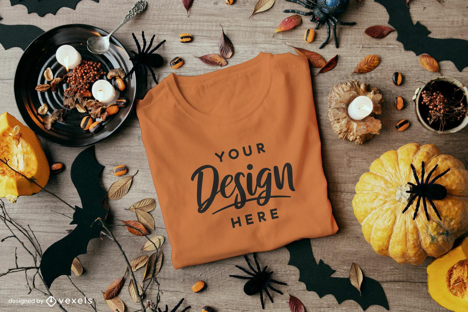 Orange t-shirt in halloween composition mockup