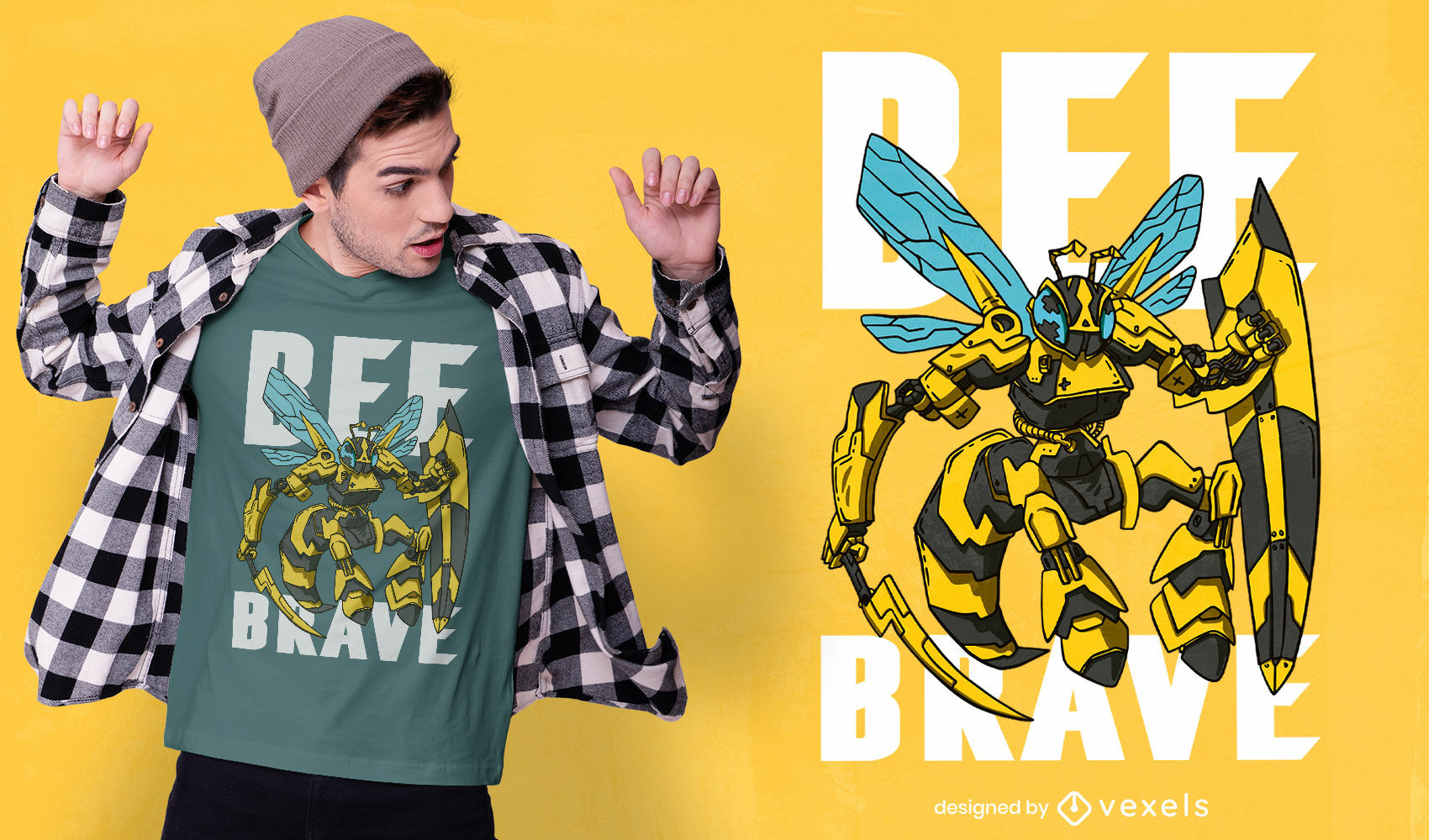 Desenho de t-shirt animal Bee Knight Robot