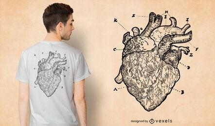 Anatomical heart drawing t-shirt design