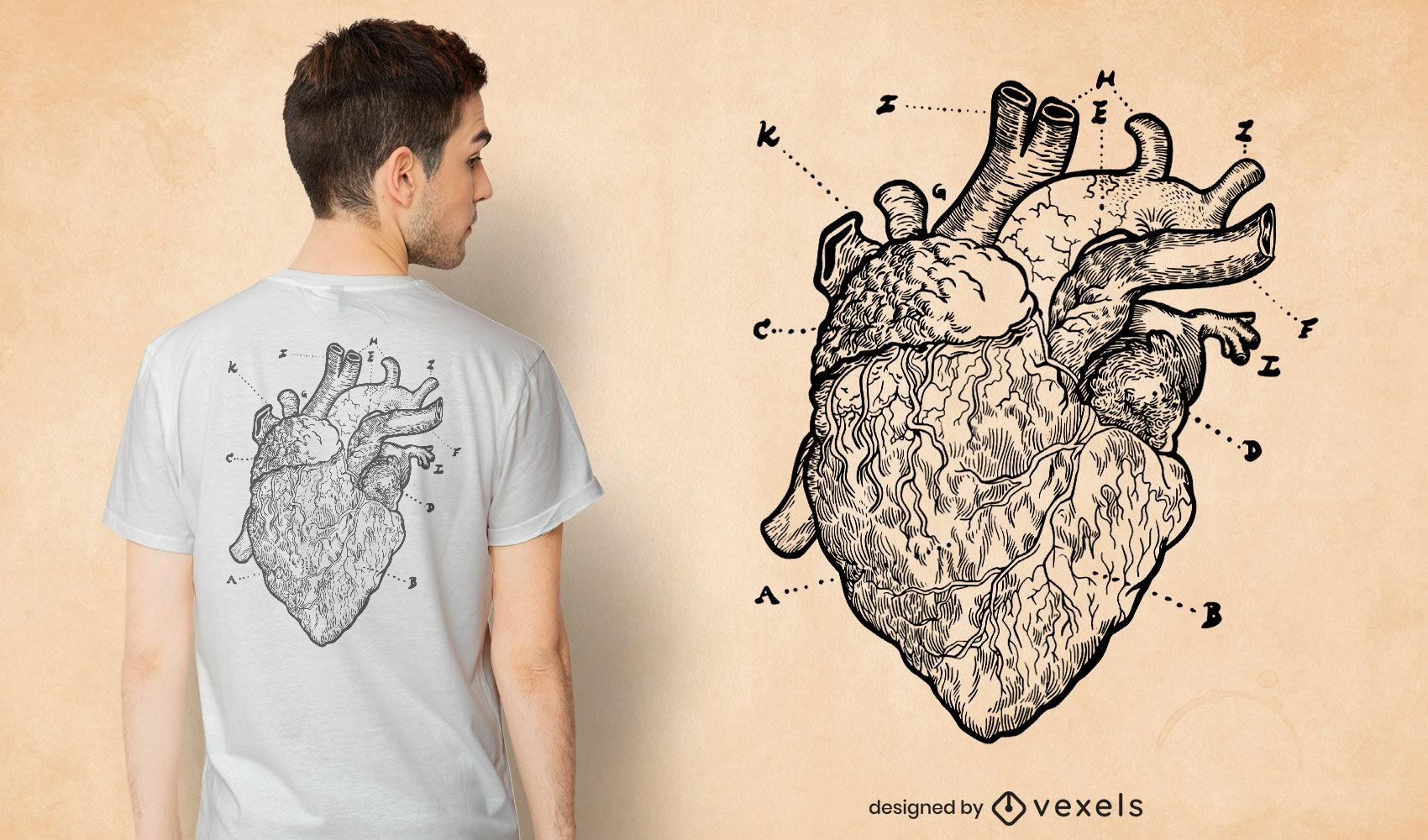 Diseño de camiseta con dibujo de corazón anatómico.