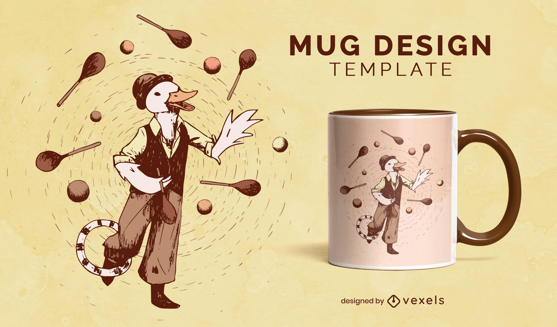 Diseño de taza de malabarismo de personaje de animal de pato