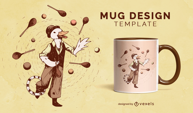 Duck animal character juggling mug design