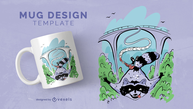 Raccoon animal bungee jumping mug design
