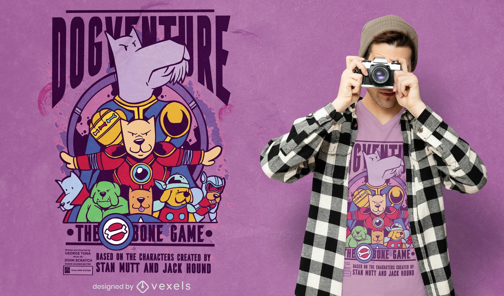 Design de t-shirt de desenho animado para cães de super-heróis