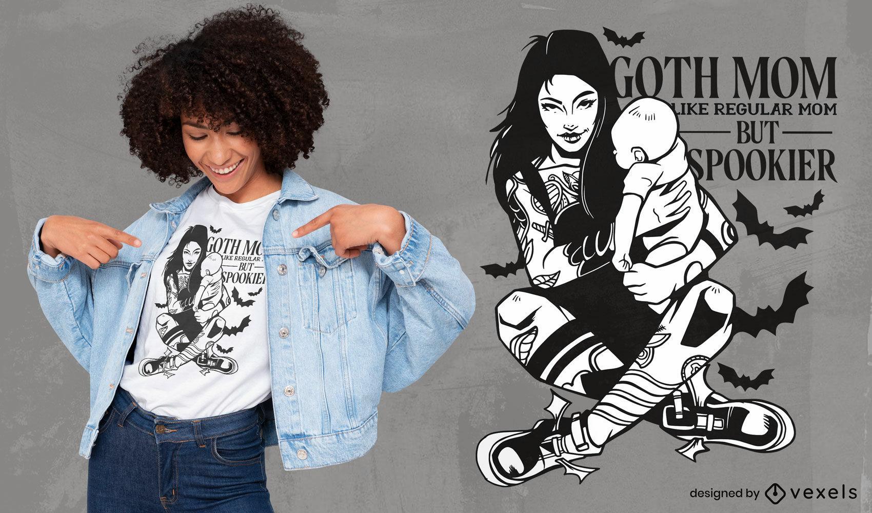 Gruseliges Gothic-Mutter- und Baby-T-Shirt-Design