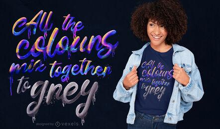 Diseño de camiseta psd con letras de colores grises