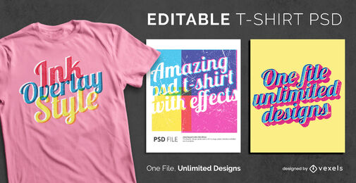 Skalierbare PSD-T-Shirt-Vorlage mit Tintenüberlagerungseffekt