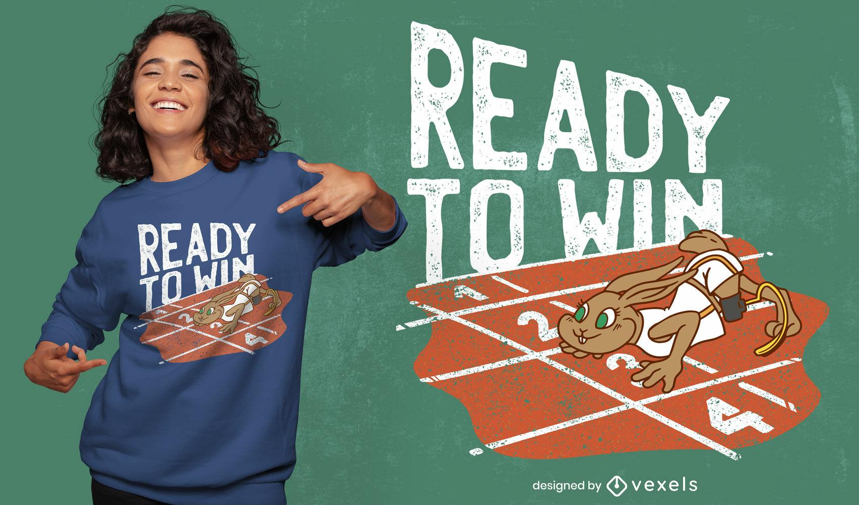 Design de camiseta para coelhinho paralímpico vencedor