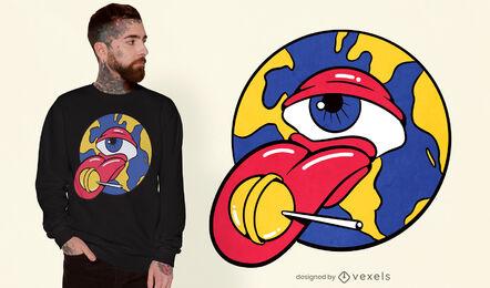 Trippy eyeball with a lollipop t-shirt design