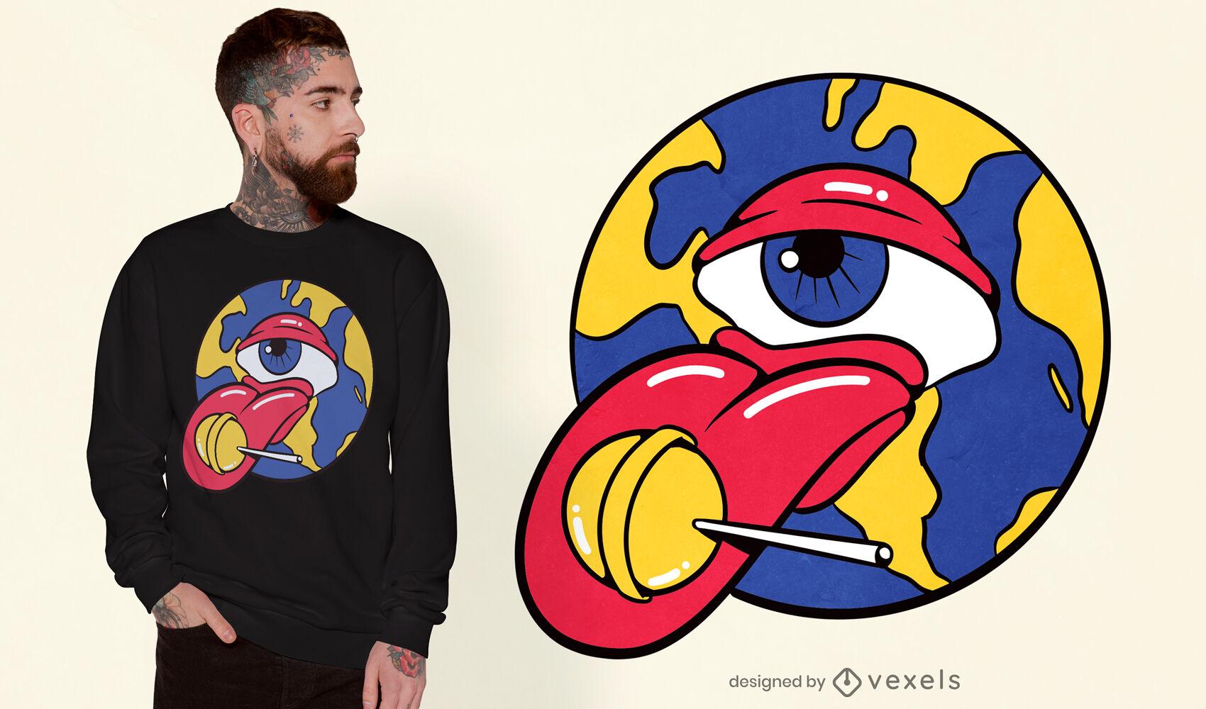 Globo ocular trippy con un diseño de camiseta de piruleta
