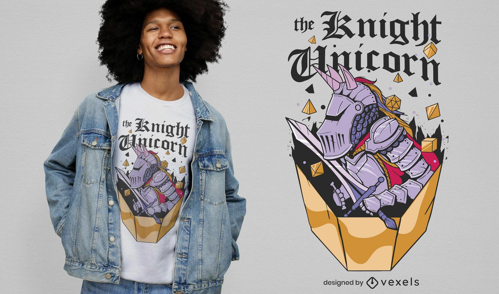 Design fixe de t-shirt de cavaleiro unicórnio