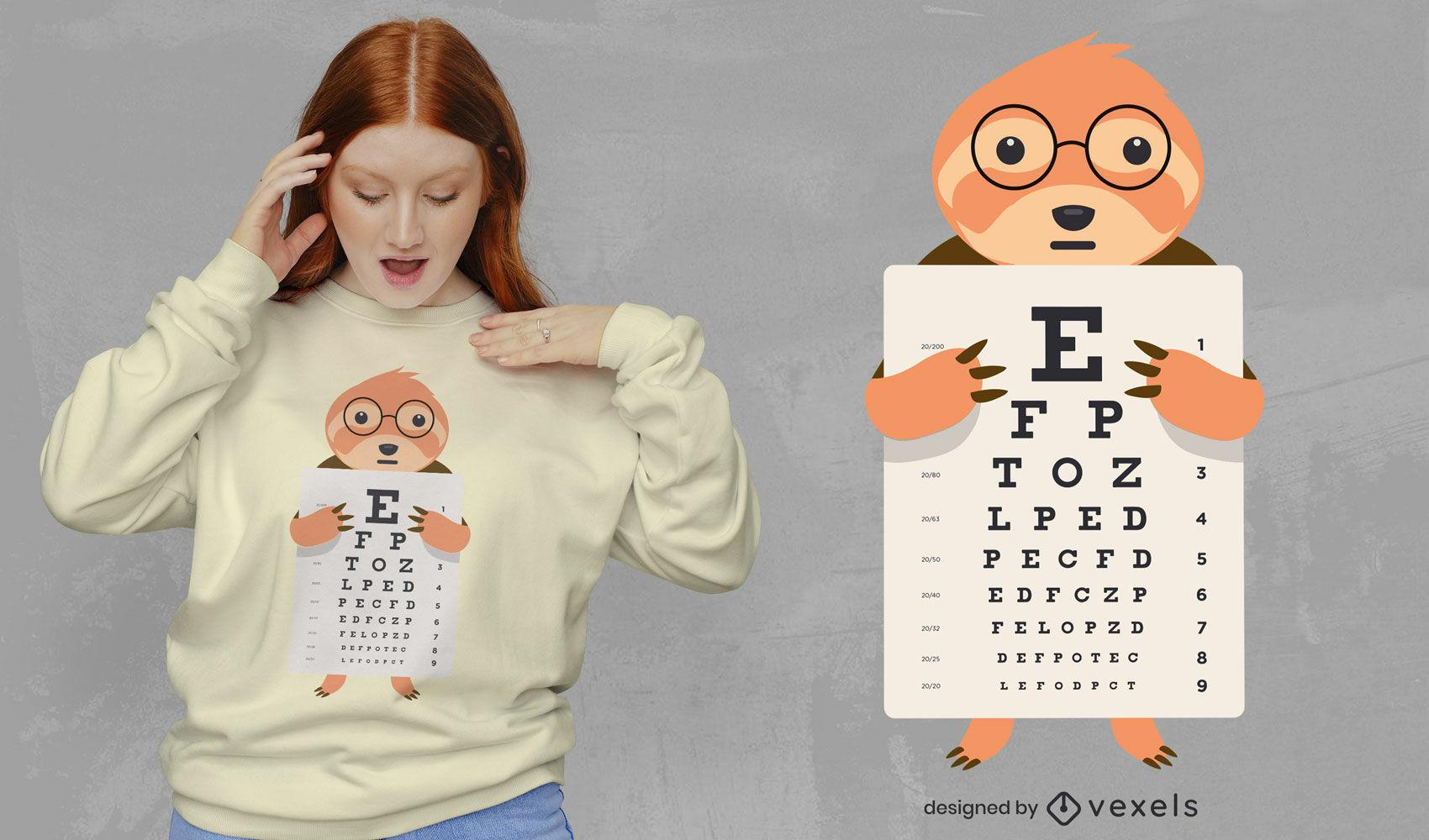 Cute sloth with eyechart t-shirt design