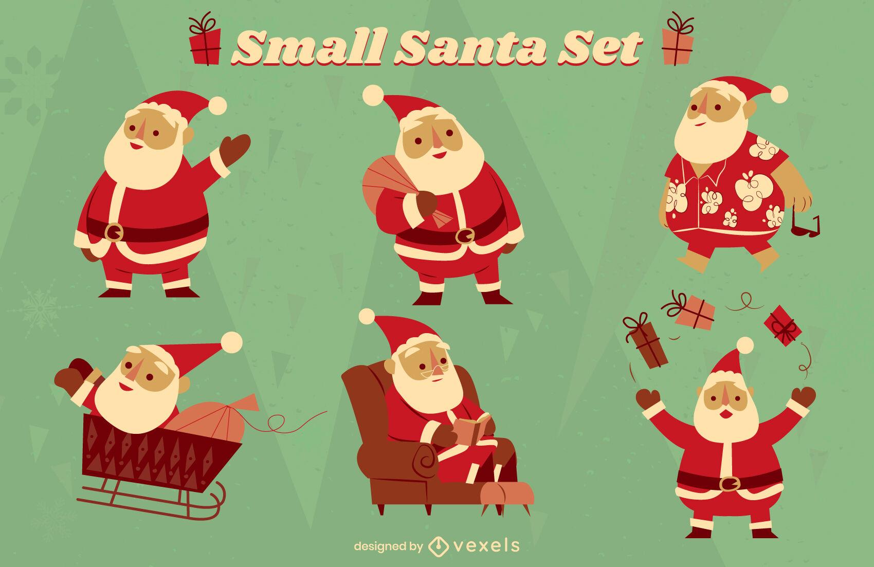 Conjunto de caracteres de vacaciones de navidad de santa claus