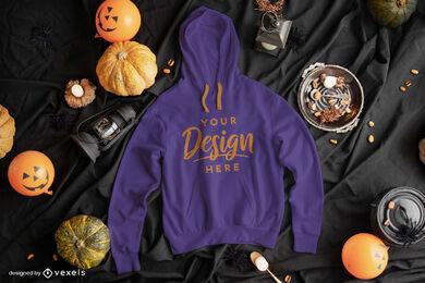 Blue hoodie mockup in halloween composition
