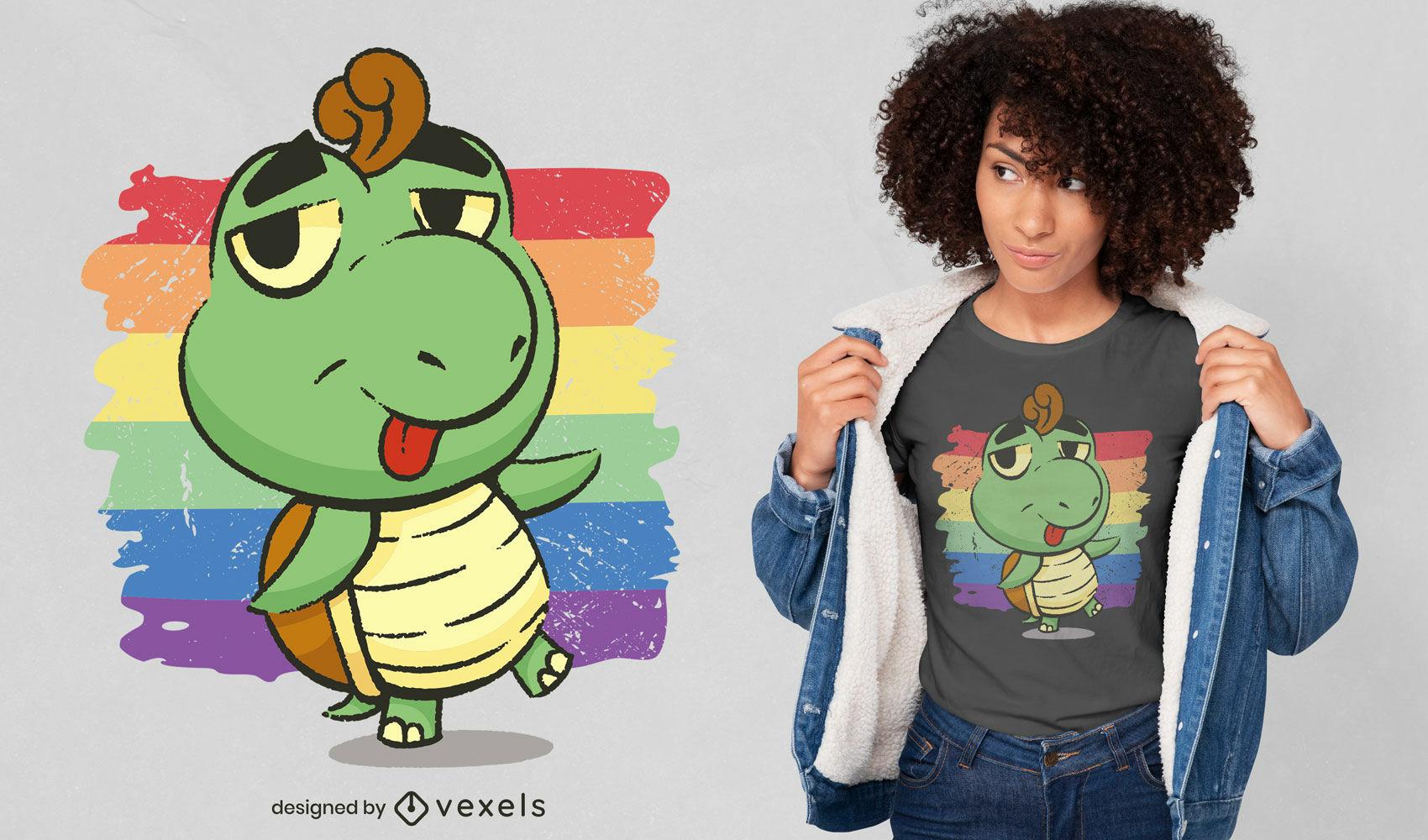 Dise?o de camiseta de dibujos animados de tortugas y arcoiris.