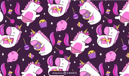 Happy unicorn creature food pattern design