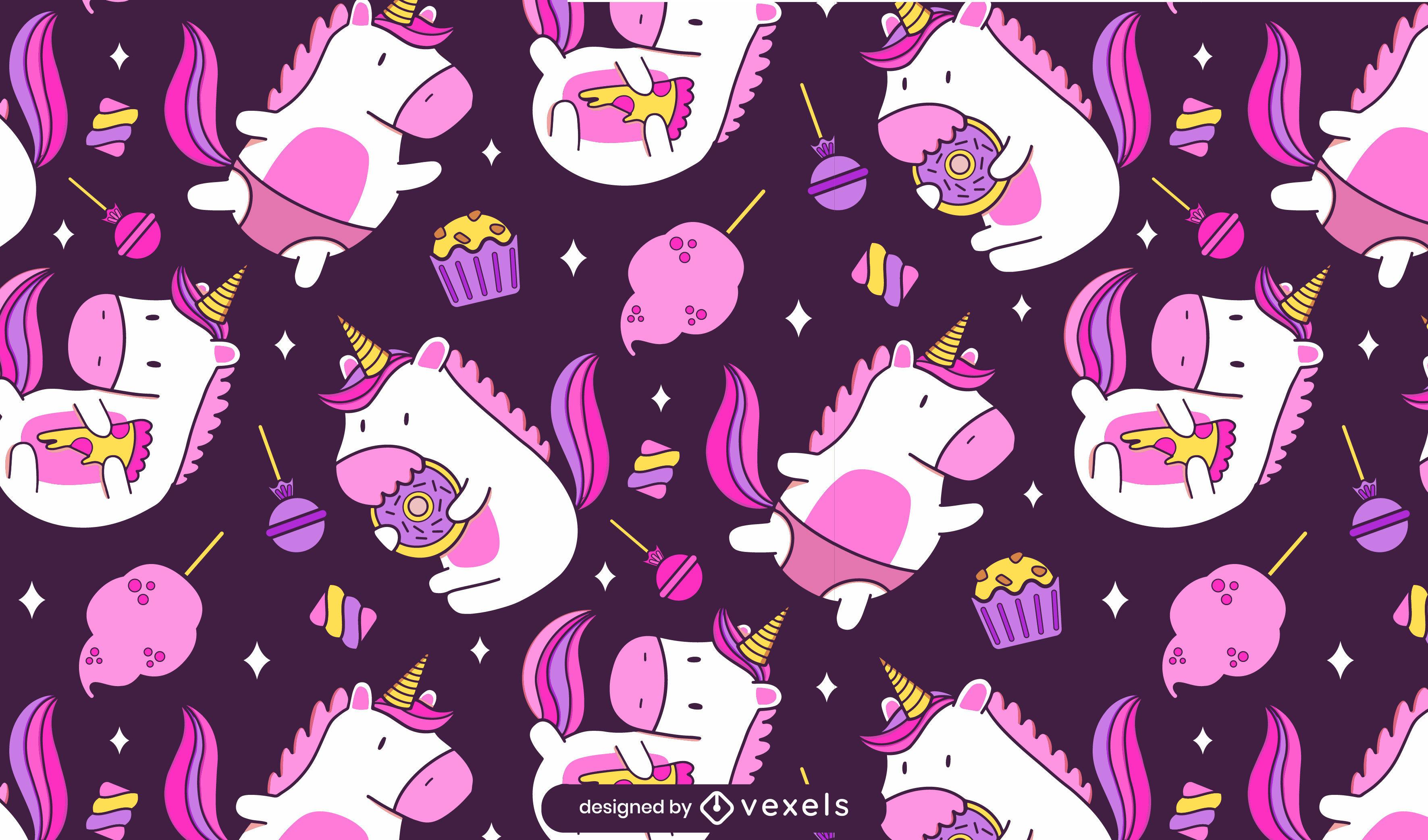 Desenho de padrão de comida de criatura de unicórnio feliz