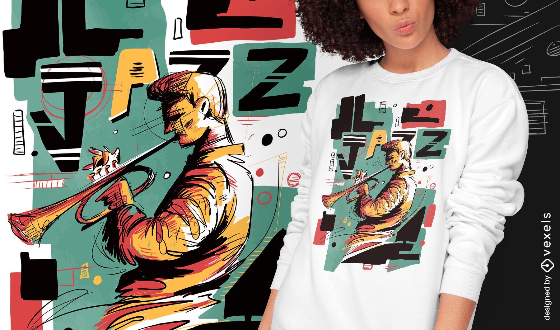 Jazz musician abstract psd t-shirt design