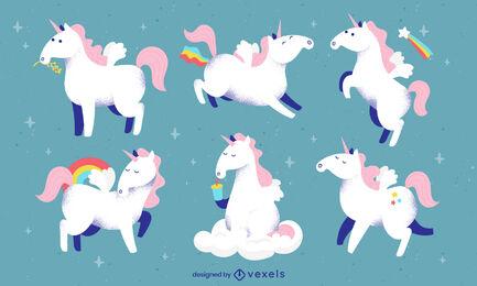 Happy unicorn creatures magic cartoon set