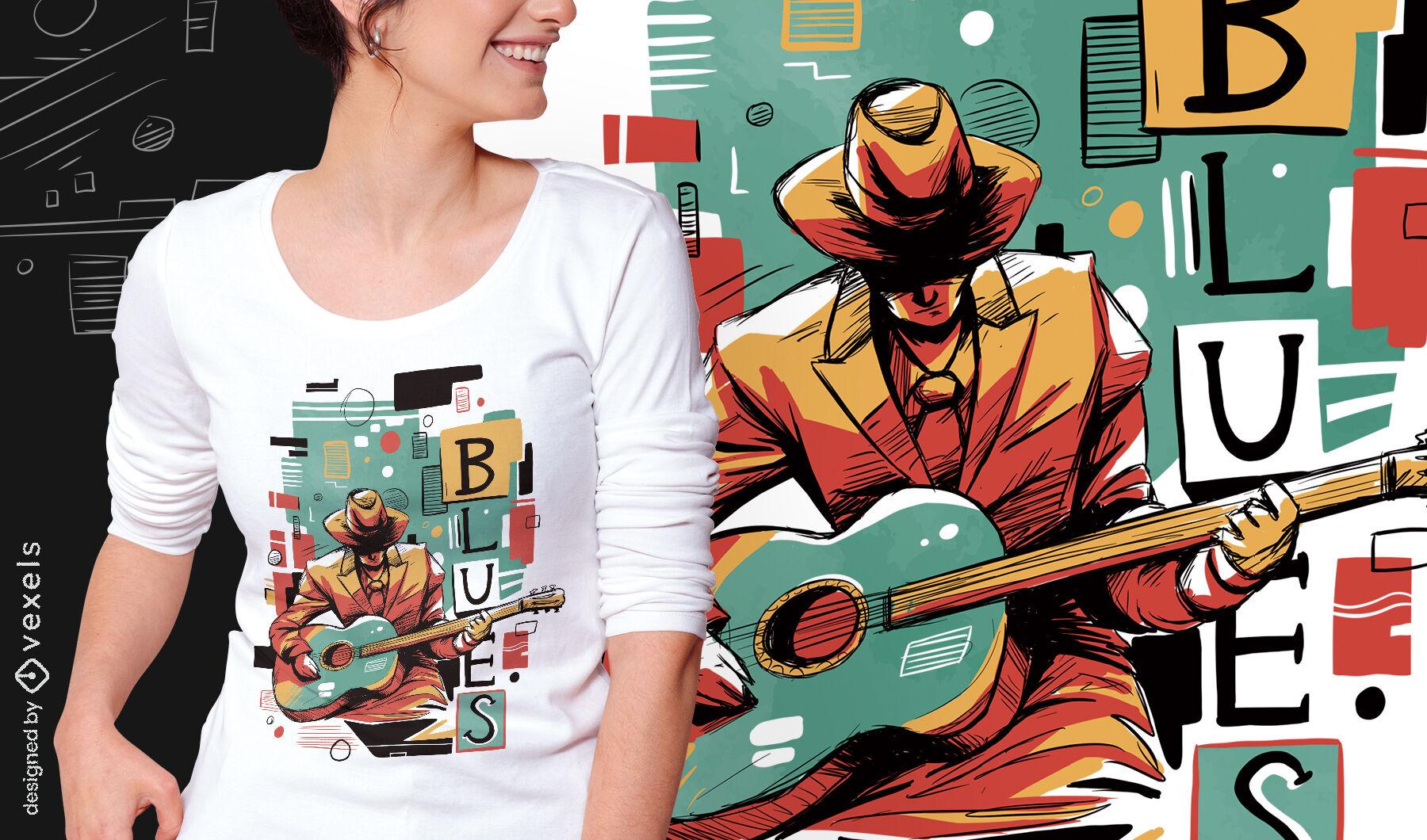 Camiseta psd abstrata do músico de blues