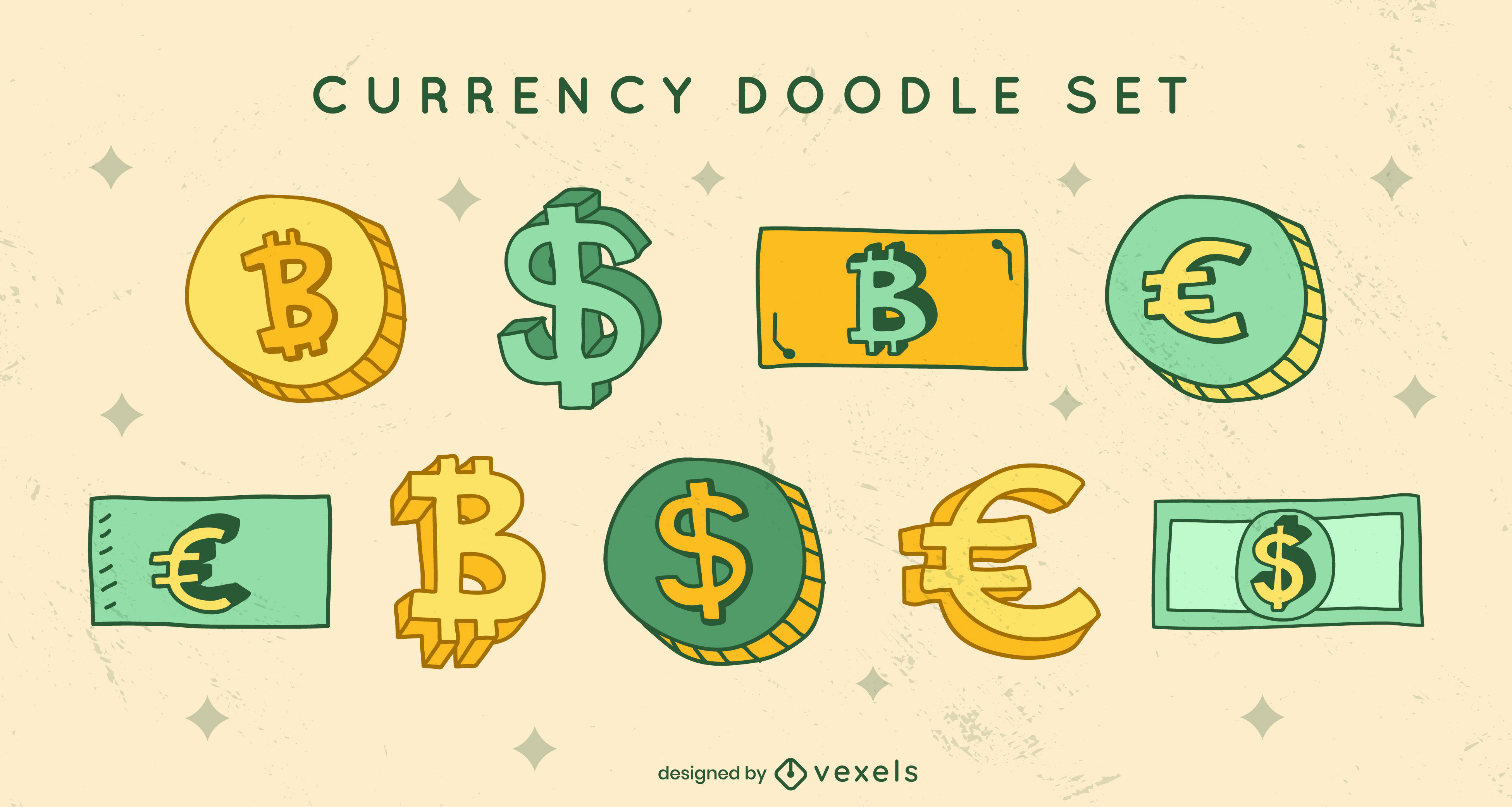 Conjunto de doodle de moedas e notas de pagamento de moeda