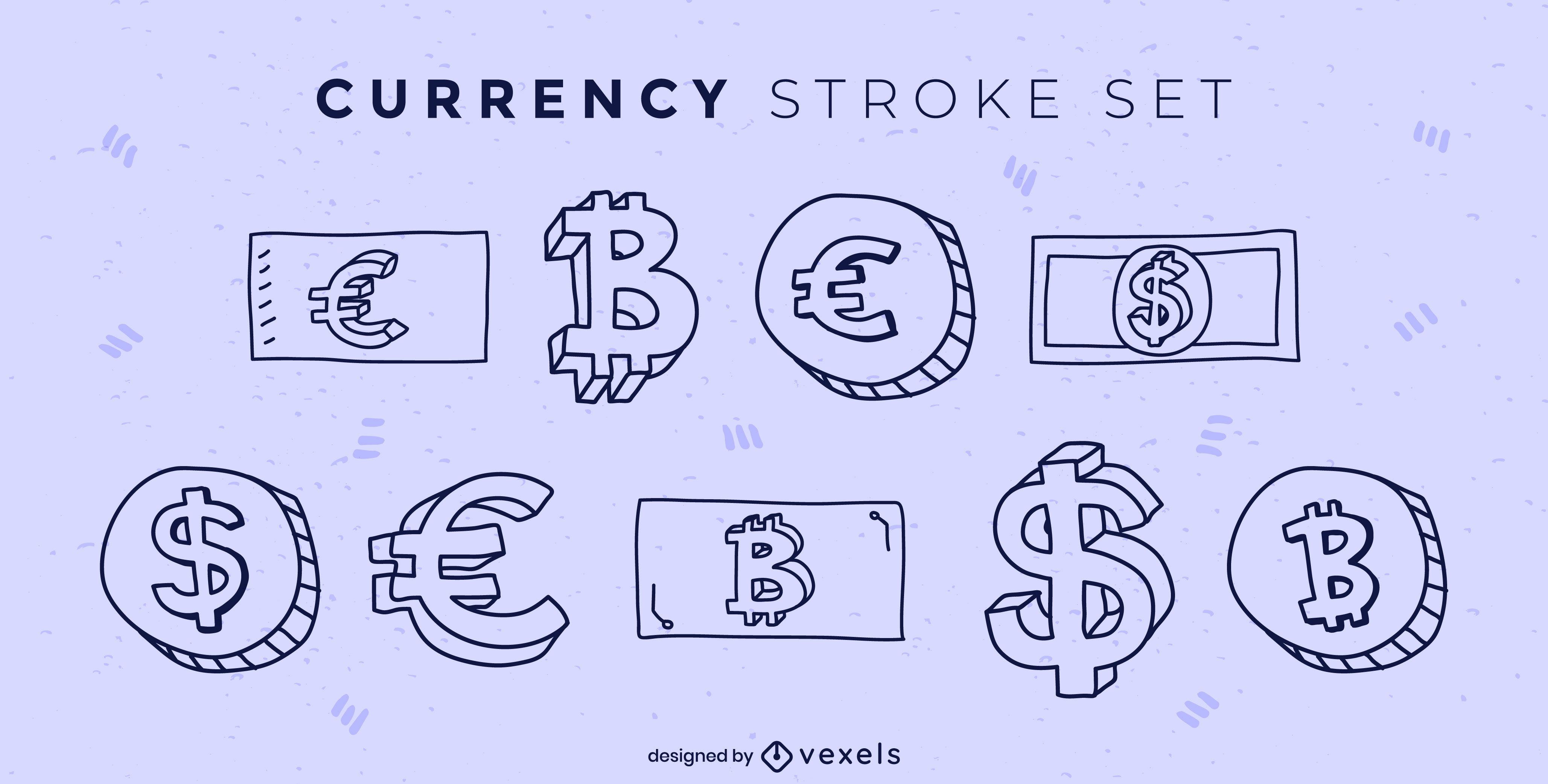 Conjunto de trazos de billetes y monedas de pago de moneda