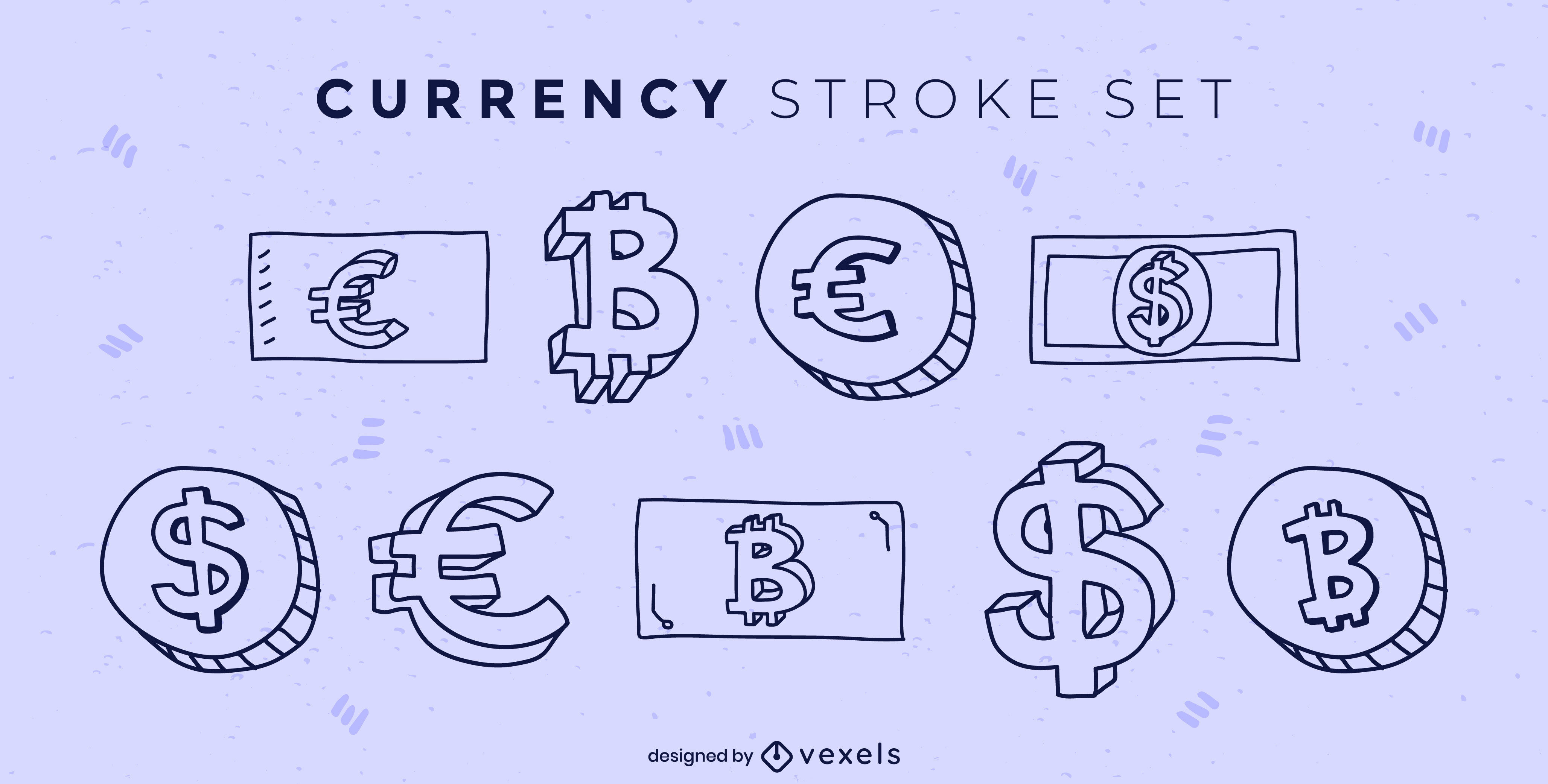 Currency payment bills and coins stroke set