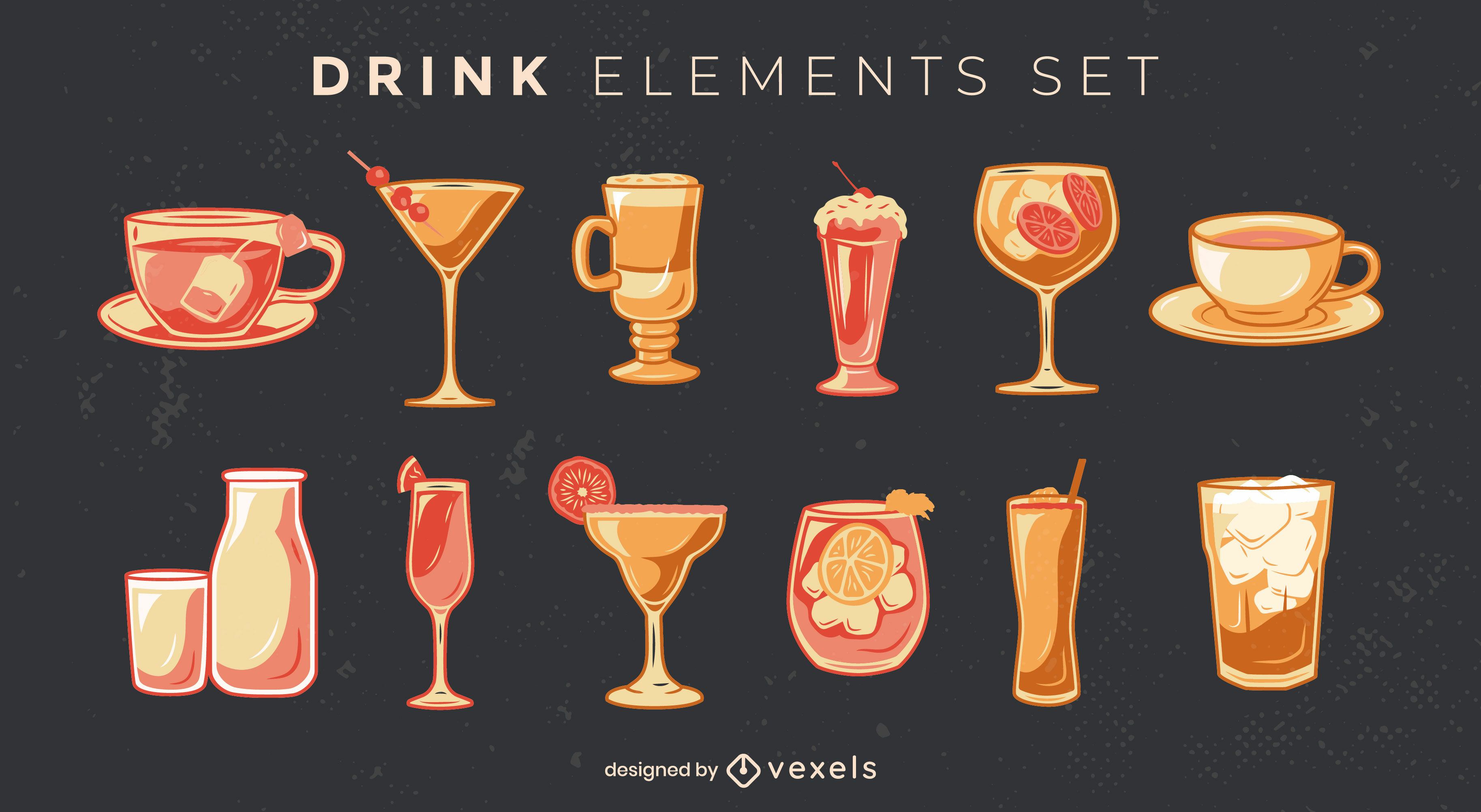 Cocktail and soft drinks elements set
