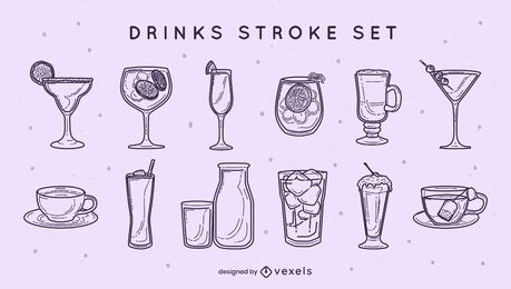 Cocktails and soft drinks stroke set