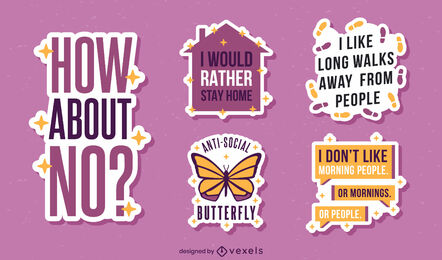 Antisocial funny quotes sticker pack