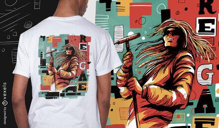Reggae musician abstract psd t-shirt