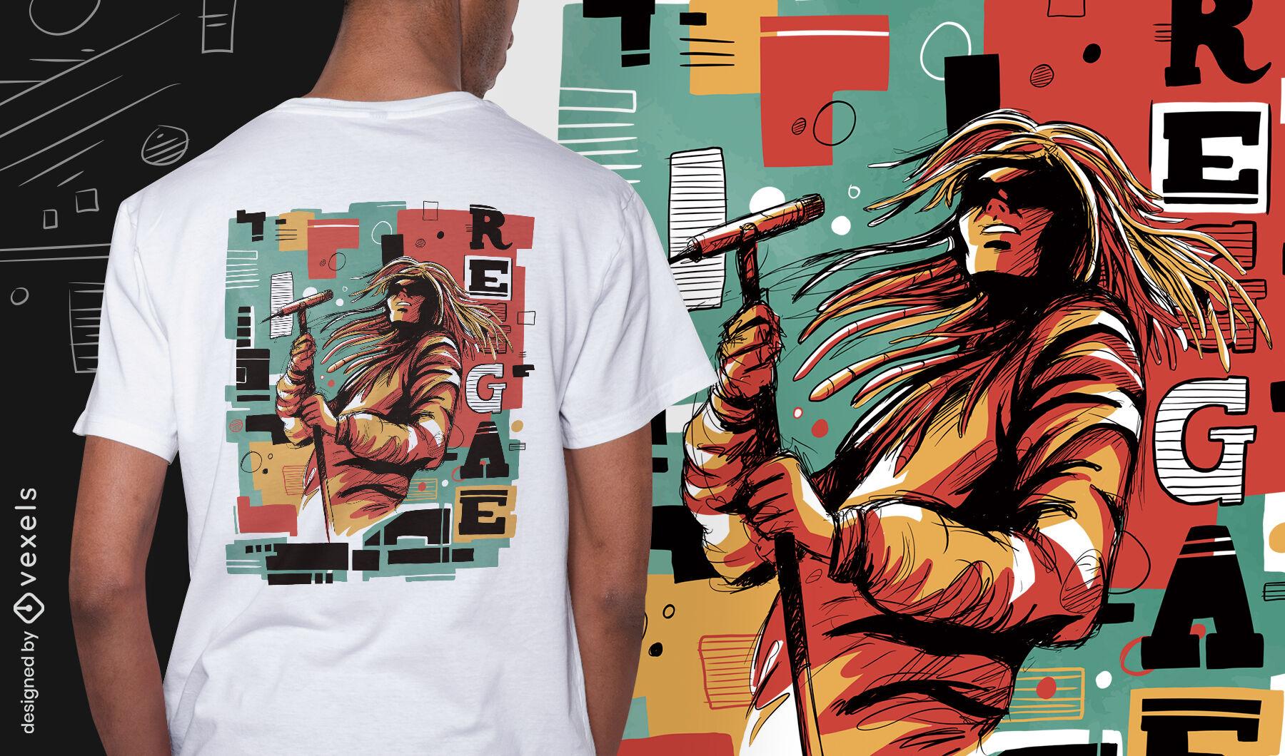 Camiseta psd abstrata do músico de reggae