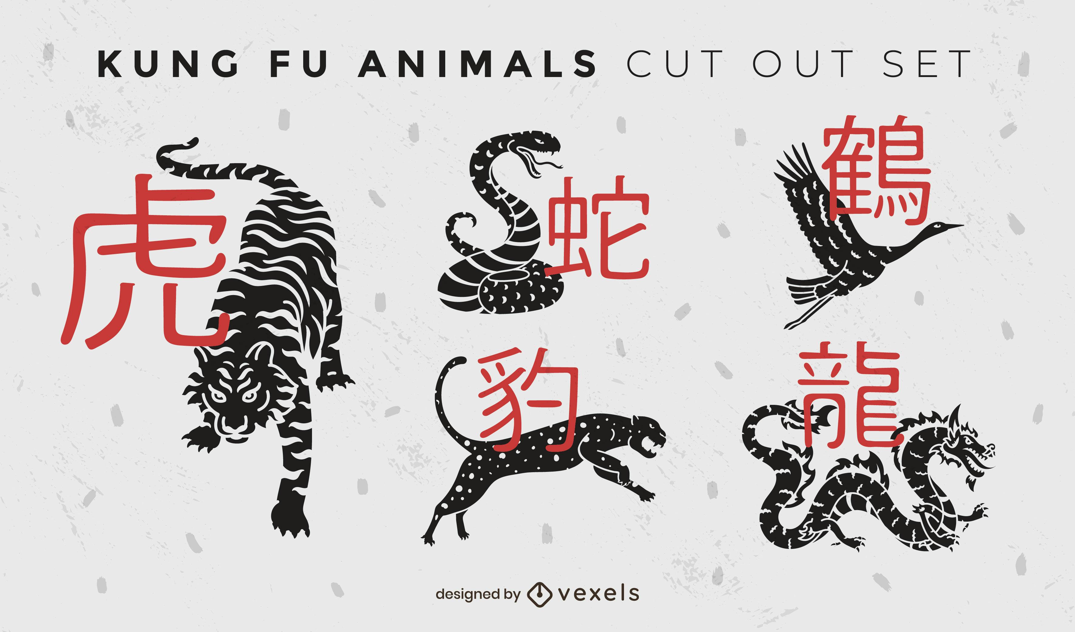 Conjunto de recortes de kung fu de animales salvajes