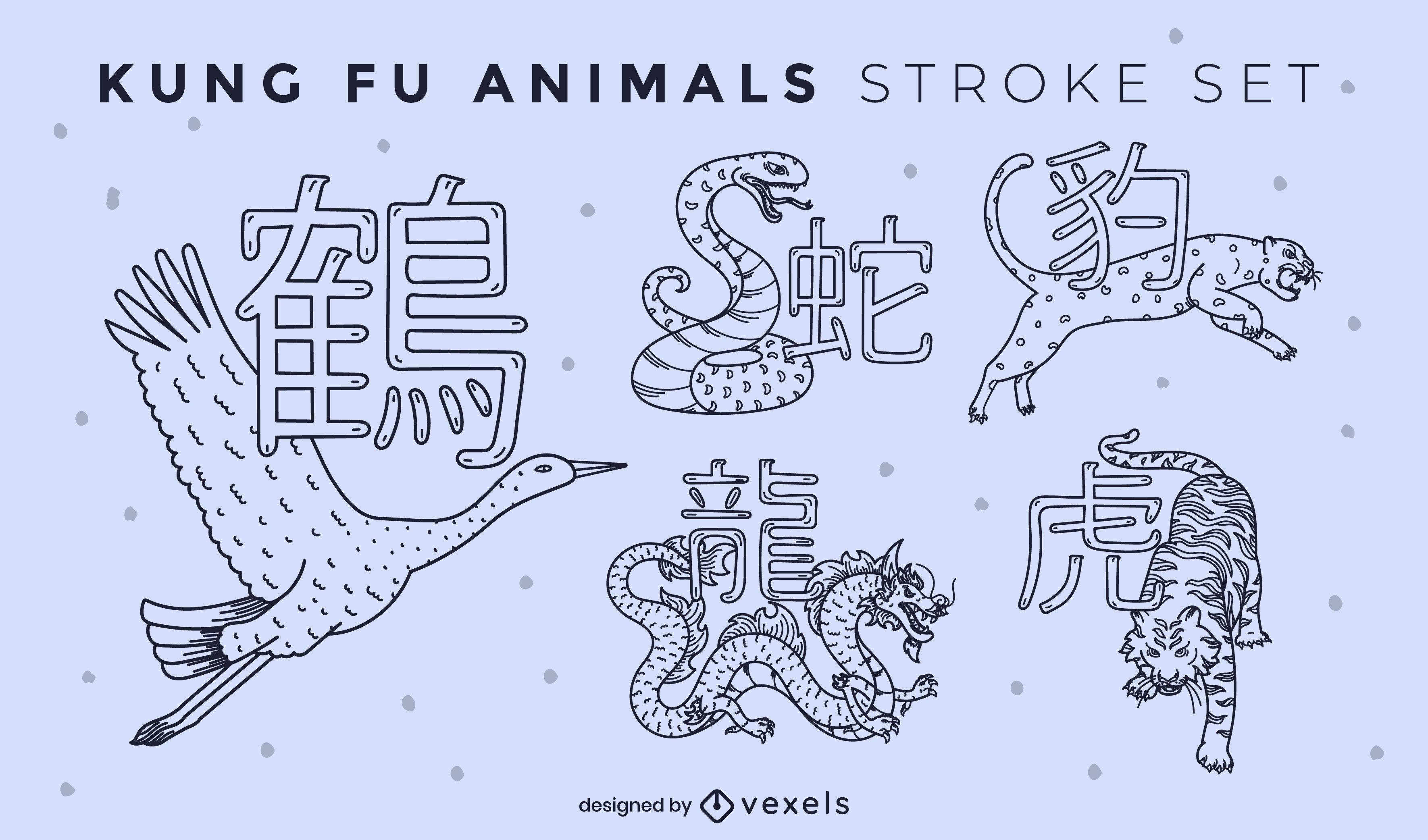 Conjunto de trazos de kung fu de animales salvajes