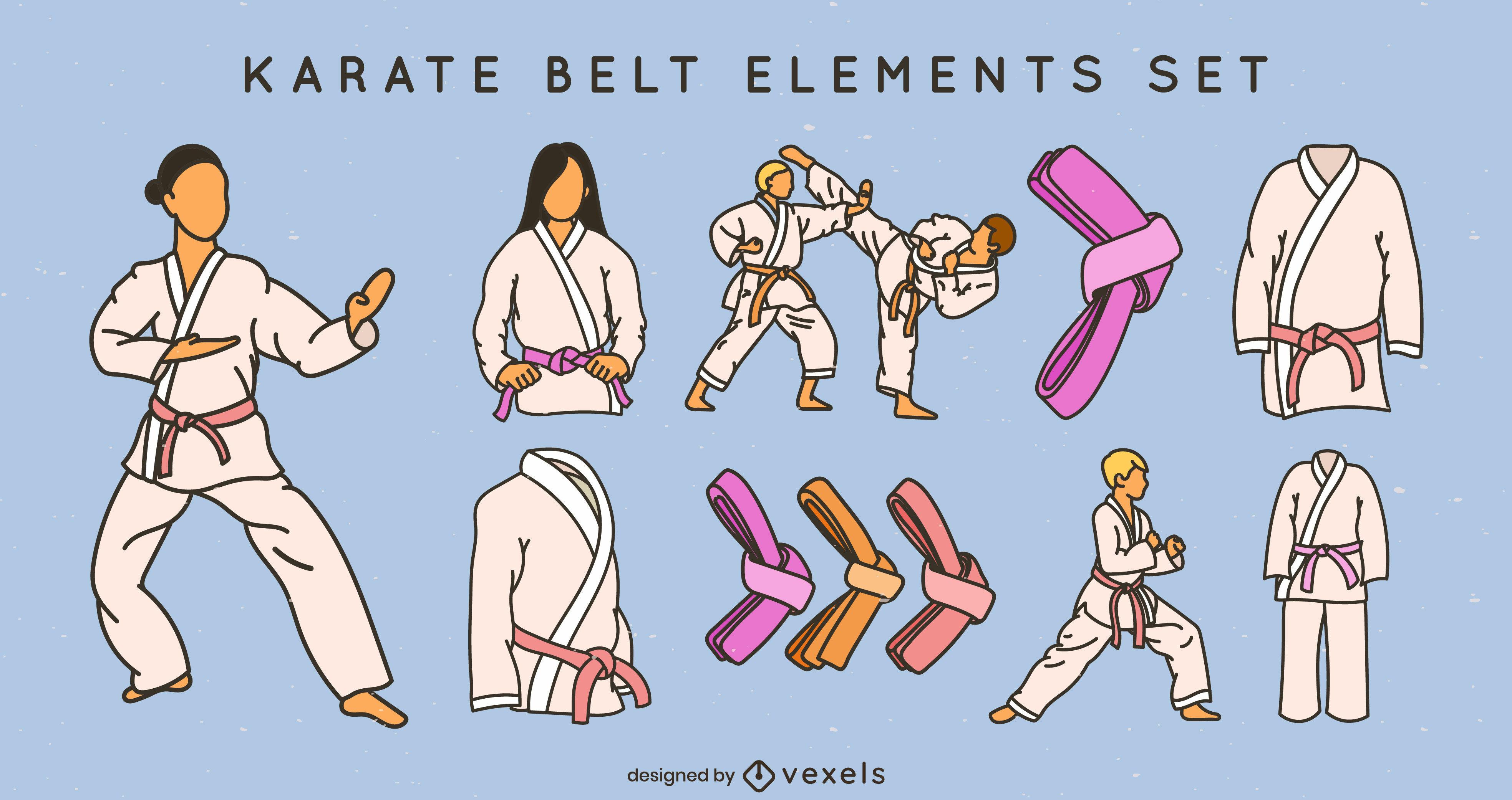 Conjunto de cintos de artes marciais de caratê com traços coloridos