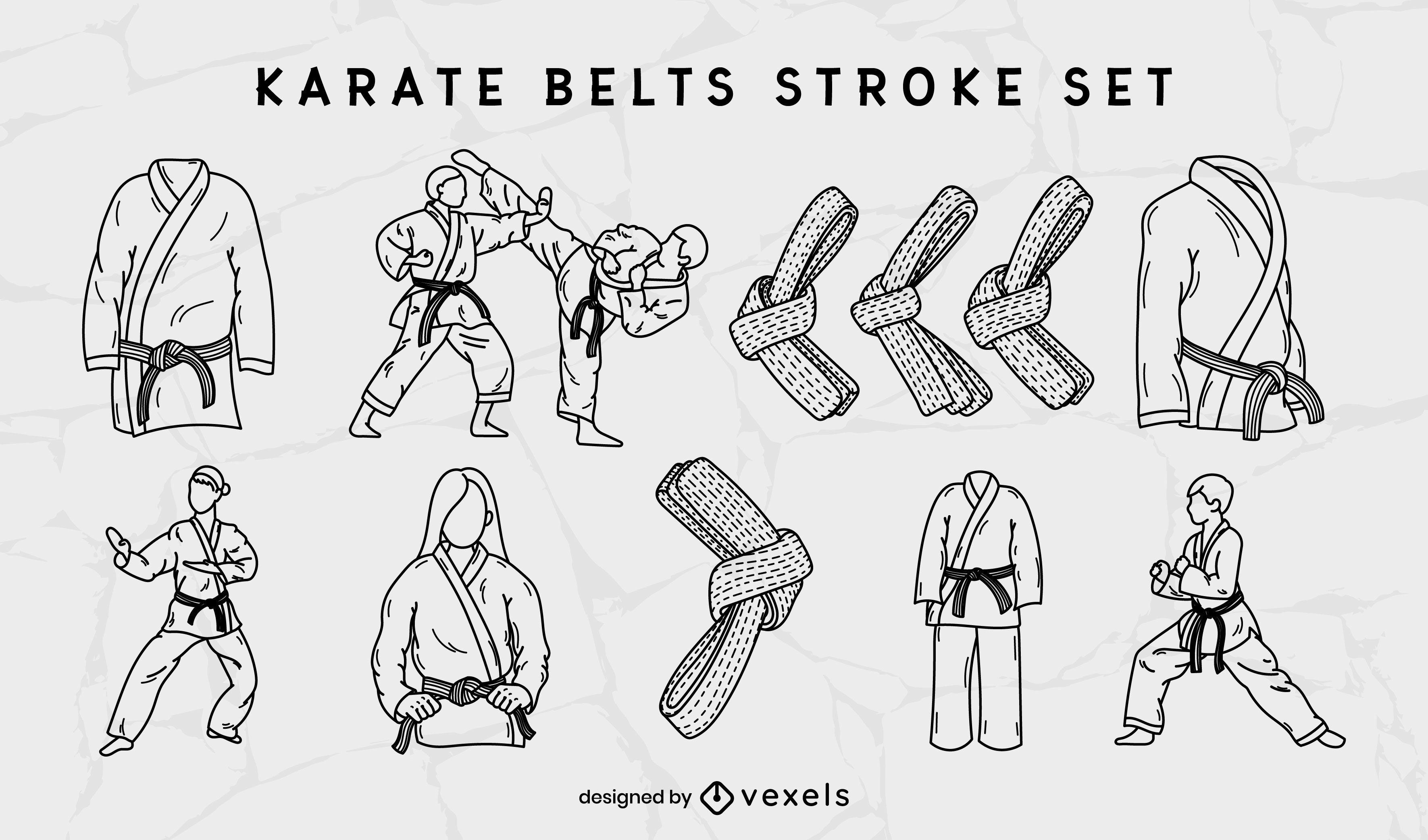 Conjunto de trazos de cinturones de artes marciales de karate