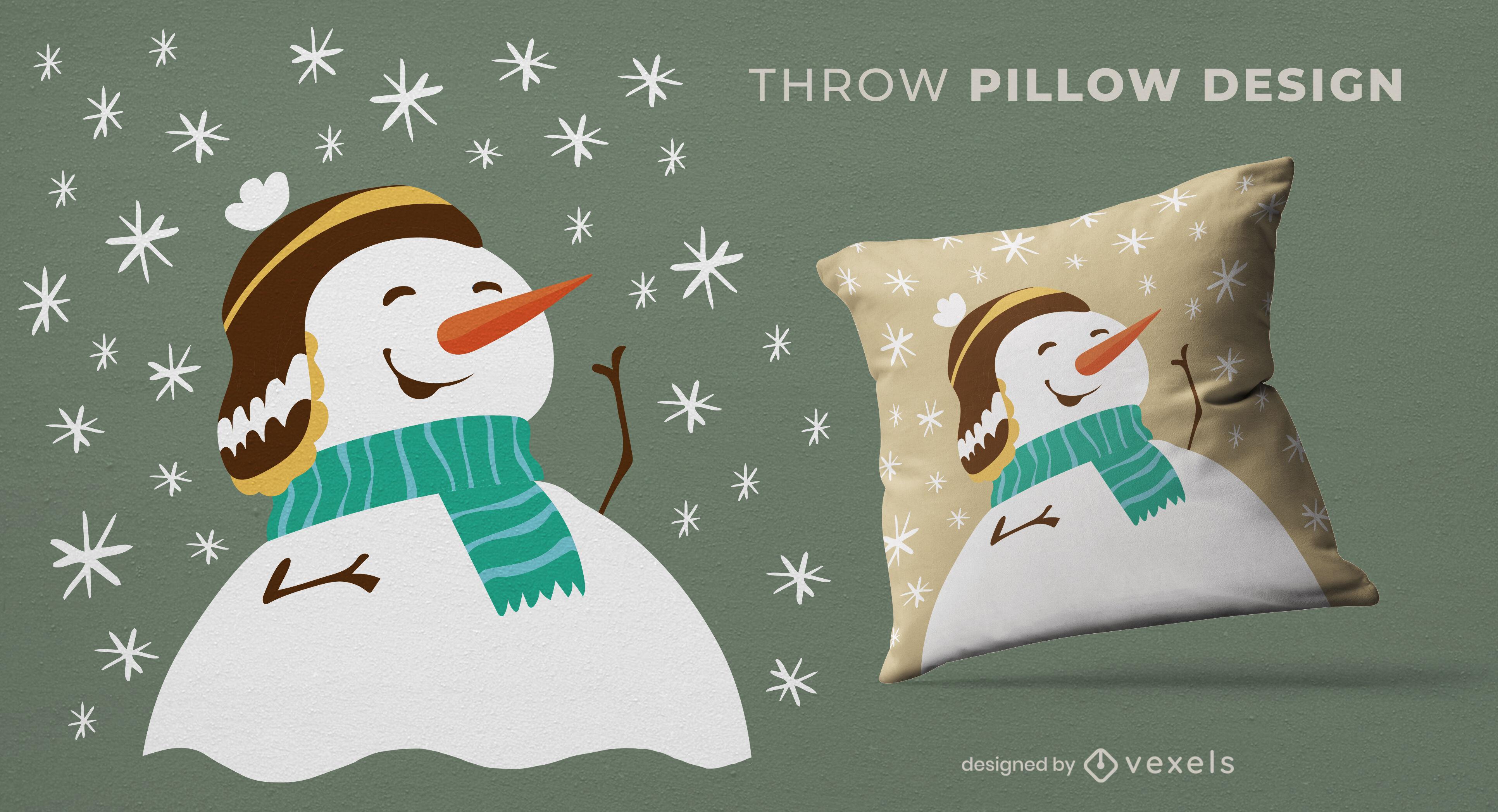 Diseño de almohada de tiro navideño de muñeco de nieve